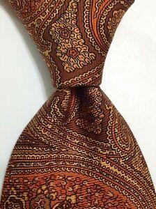 ROBERT TALBOTT Best of Class Silk Necktie Designer PAISLEY Brown/Orange EUC $105