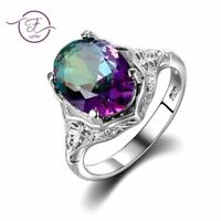 Authentic Topaz Ring Mystic Genuine Jewelry 925 Streling Silver Gift Rainbow Gem