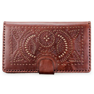 Genuine Cowhide Carving Leather / Big Oversize Purse Clutch / Ladies / Brown