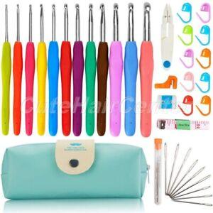 Crochet Set with 9pcs Yarn Needles Scissor Tape Measure Row Counter Storage Bag