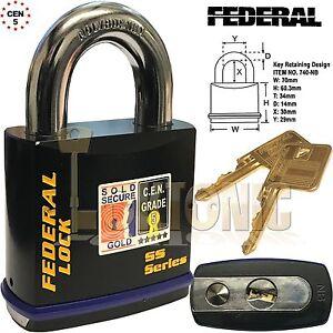 Federal FD740 Sold Secure Gold CEN 5 Super Heavy Duty 70mm Solid Steel Padlock
