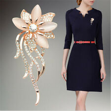 Women Crystal Opal Stone Flower Brooch Jewelry Pin Brooches Clothing Accessories