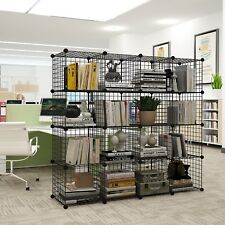16 Metal Wire DIY Storage Cubes Bookcase Shelving Unit Wardrobe Display Black