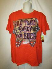 mens  halloween t-shirt M nwt candy for beer  orange