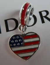 Authentic Pandora Bead US Heart Flag Charm In Red, White & Blue 791548ENMX