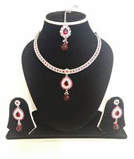 Neuf Indien Bollywood Costume Bijoux Collier Set Fuchsia Ton Argent Sale!!!