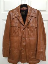 Vtg REED Retro Brown Leather Car Coat Jacket Sherpa Lining Mens Sz 42 HTF Cool!