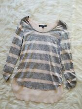 Almost Famous Juniors Womens Shirt Sz Large Pink Gray Striped Sheer Back