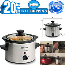 Small Slow Cooker Stainless Steel Crock Pot Mini Kitchen Appliance Portable 1.5