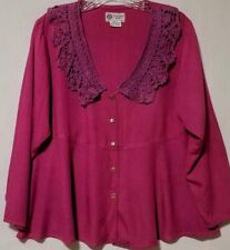 Boho Purple / Magenta Blouse By Winter Sun, Cotton Crochet Collar, Rayon, Sz S/M