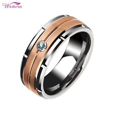 Tungsten Rings For Men Wedding Bands For Him Brown Carbide 8mm White Cz Sz 8-13