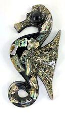 "Vintage Abalone Shell Seahorse Lucite Acrylic Wall Art Black 8"" Wondermold USA"