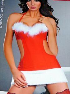 SEXY SANTA 2 PIECE RED & WHITE COSTUME DRESS & STRING SET SIZE L / XL NEW HOT!