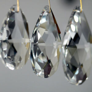 10Pcs Clear Crystal Glass Beads Pendant Drops Chandelier Hanging Décor Supplies