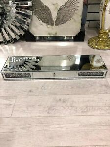 Mirrored Diamond Crush Floating Wall Shelf Crystal Modern 80x20 Sparkly bling uk