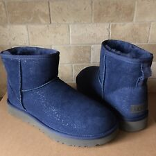 UGG Classic Mini Milky Way Dark Denim Blue Sparkle Suede Fur Boots Size 10 Women