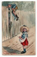 Hand painted colour illustrated comic caricature postcard  signed HP to Terry fa