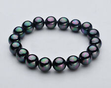 "10mm Natural Black South Sea Shell Pearl Round Beads Stretch Bracelet 7.5"" C3251"