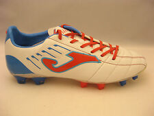 Joma Mens Fit-100 Blanco Azul Leather Soccer Cleats 11 New Multitaco White Blue