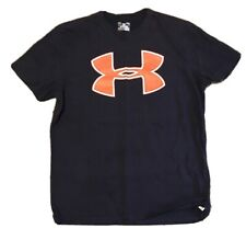 Under Armour HeatGear Large Big Logo T-Shirt Navy Blue Orange Men's L Loose B507