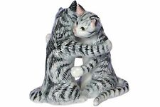 Cat Salt & Pepper Shakers -Grey Tabby Cats Porcelain Hand Painted in Thailand