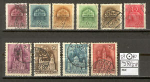 Hungary 0201 used 1939 set 10v Crown CHURCH Architecture