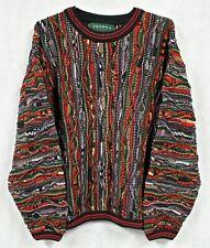 WILD Vtg TUNDRA Canada Knit Sweater LARGE Coogi Style Multi Color Striped Biggie