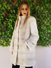 REAL MINK FUR COAT JACKET PEARL BEIGE MEXA NERZMANTEL FOX SABLE CHINCHILLA 98
