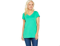 Isaac Mizrahi Live! Essentials Pima Cotton V-Neck Tunic Bright Palm Small