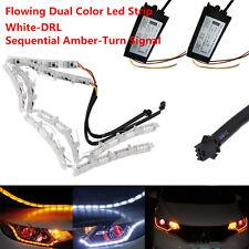 2x Universal Car Sequential Switchback LED Strip Lights Headlight Retrofit NEW