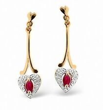 Ruby and Diamond Heart Earrings Yellow Gold Drop Appraisal Certificate