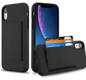 """for iPhone XR 6.1"""" - Black Hybrid Credit Card ID Pocket Holder Nonslip Skin Case"""
