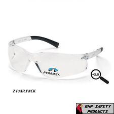 SAFETY GLASSES READER CLEAR BIFOCAL +2.50 LENS PYRAMEX ZTEK S2510R25 (2 PAIR)