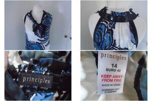 Principles Ladies Multicolour Top 100% Silk UK Size 14 Halter Neck Beaded Boho