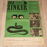 Filmplakat DDR ,Progress  DER ZINKER,EDGAR WALLACE,Heinz Drache,Barbara Rütting