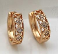 18K Gold Filled Earrings Diamond Clear Topaz Hollow Zircon Ear Hoop Stud Lady L8