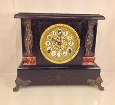 Antique Sessions Art Nouveau Clock Wood Case Woman Figures Running