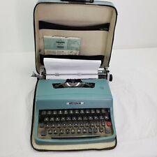 Vintage 1966 Olivetti Underwood Lettera 32 Typewriter Blue Has Case Italy