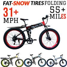 1000w 48v FOLDING FAT THICK TIRE E-Mountain Bike 31 MPH 55+ Mile Electric Ebike