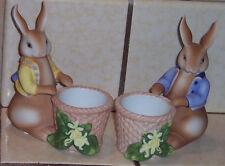 PartyLite Easter Bunny Rabbit Porcelain Bertie & Bea Votive Holders