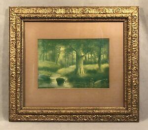 PV05580 Vintage Framed Litho Print STREAM & TREES IN GREEN TONES