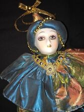 """Porcelain Bisque Jester Doll Clown,14"""" long, Gold and teal"""
