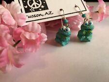 Silvertone Sitting Cookie Monster 3D design Blue Sesame Street Dangle Earrings