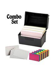 Plastic Index Card Holder Flip Top File Box Holds 300 3 X 5 Cards Matte Bla