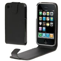 COVER CUSTODIA FLIP CASE per APPLE IPHONE 3G 3GS PELLE FODERO NERO NUOVO GUSCIO