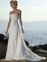 Empire Chiffon Brautkleid Hochzeitskleid Kleid für Braut weiß oder creme BS056