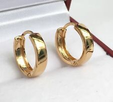 18k Solid Yellow Gold Cute Plain Hoop Kid/women Earrings, 2.17 grams