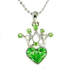 w Swarovski Crystal ~August Birthstone Green Crown Heart~ Fairy Pendant Necklace