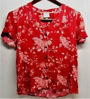 Knox Rose Size M Button Front Blouse Red Floral Pattern Ribbed Shoulder