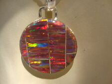 "RED Circle FIRE OPAL MEDALLION Silver 925 Pendant 1.5"" UNISEX Men Lady"